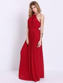 Wine Red Evening Sleeveless Halterneck Pleated Infinity Maxi Dress