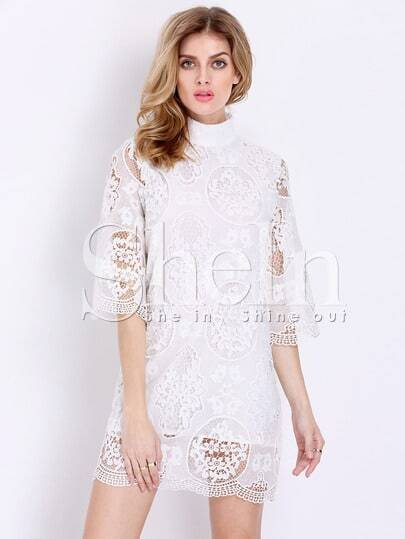 White Half Sleeve Floral Lace Dress