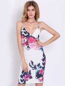 White Spaghetti Strap Floral Print Dress