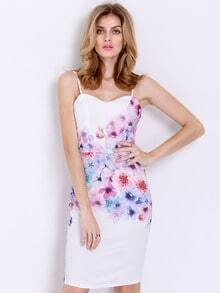 Multicolour Corseted Spaghetti Strap Floral Print Dress