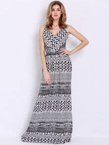 Black White Spaghetti Strap Vintage Print Maxi Dress