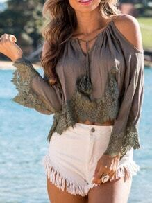 Coffee Off The Shoulder With Lace Blouse