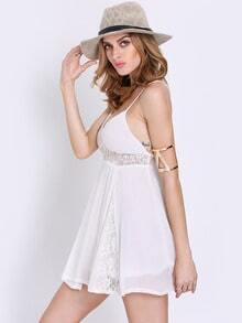 White Pool Spaghetti Strap Backless With Lace Dress
