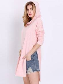 Pink Long Sleeve Hooded Split Sweatshirt