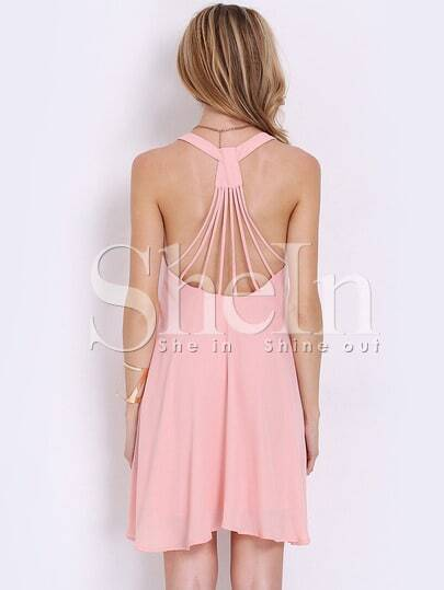 Open Back Pleated Slip Dress