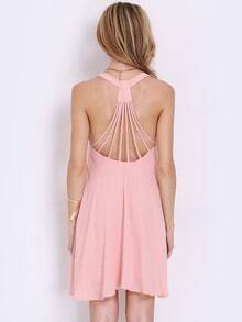 Pink Sleeveless Backless Romantic Loved Lolita Pleated Dress