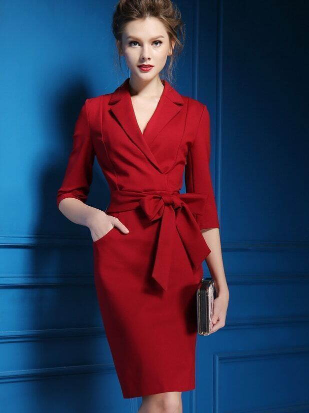 Red V Neck Long Sleeve Pockets Tie-Waist  Dress
