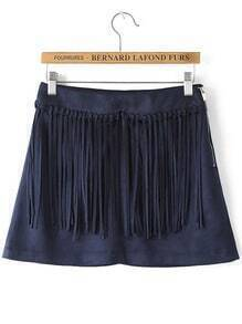 Blue Zipper Tassel Skirt
