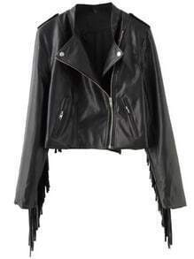 Black Epaulet Oblique Zipper Tassel Crop Jacket