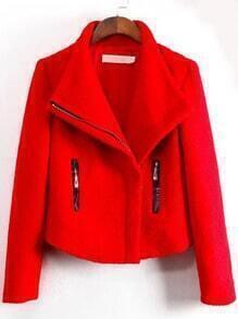 Red Lapel Zipper Crop Woolen Coat