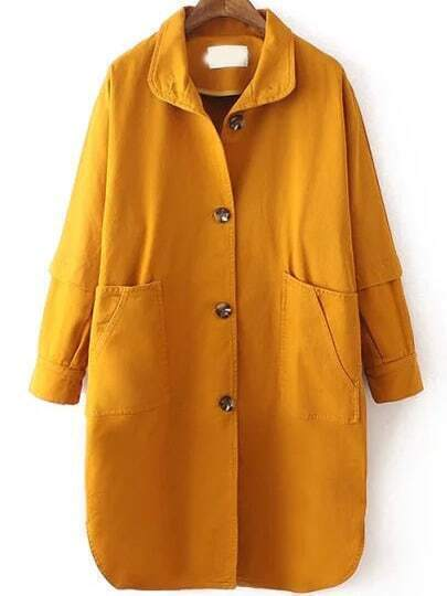 Yellow Lapel Single Breasted Trench Coat