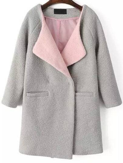 Grey Long Sleeve Loose Woolen Coat