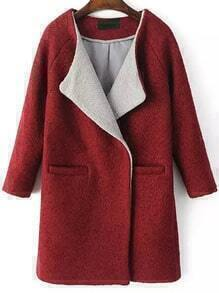 Red Long Sleeve Loose Woolen Coat