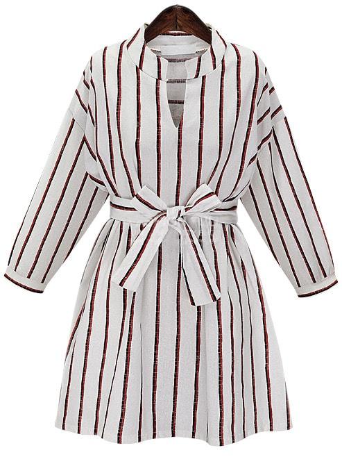 Black white vertical stripe tie waist shirt dress shein for Striped tie with striped shirt