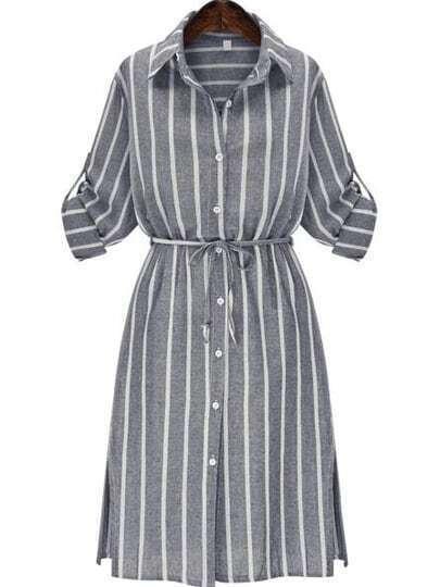 Grey Slate Chemise Banded Lapel Vertical Stripe Split Shirt Dress