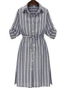Grey Slate Chemise Banded Lapel Vertical Stripe Split Shirt Dress