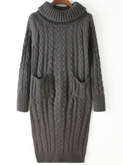 Grey High Neck Cable Knit Pockets Sweater Dress