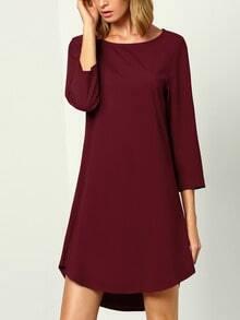 Wine Red Burgandy Long Sleeve Casual Dress