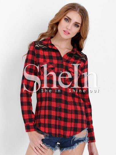Red Long Sleeve Lace Shoulder Checker Plaid Blouse