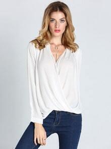 White Long Sleeve Cross Front Blouse