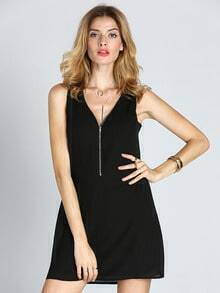 Black Sleeveless Zipper Shift Dress
