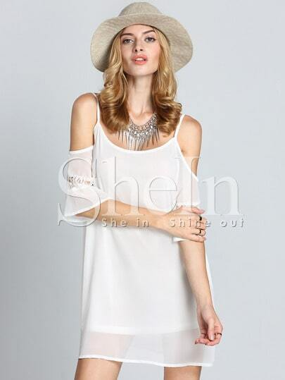 White Off The Shoulder Embroidered Lace-up Pleated Dress