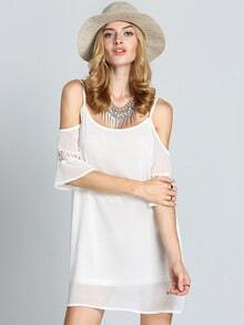 White Off The Shoulder Embroidered Lace-up Pleated Dress -SheIn(Sheinside)