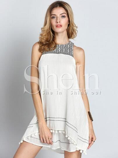 Beige Sleeveless Tassel Dress Sundress
