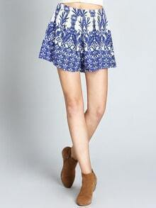Blue Elastic Waist Vintage Print Shorts