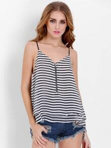 White Spaghetti Strap Striped Cami Top