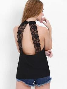 Black Sleeveless Backless With Lace Tank Top