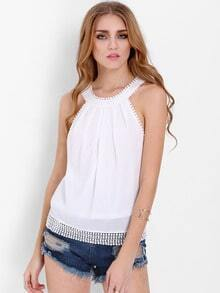 White Sleeveless With Bow Tank Top
