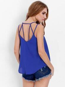 Blue Spaghetti Strap Backless Cami Top