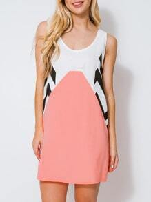 Pink White Magaschoni Sleeveless Geometric Print Color Block Dress