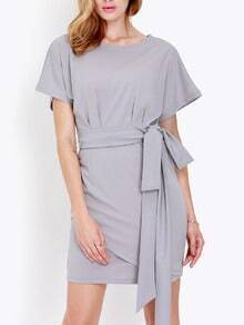 Grey Short Sleeve Wrapover Bodycon Dress