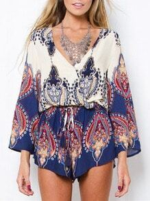 White Blue Long Sleeve Vintage Print Playsuit