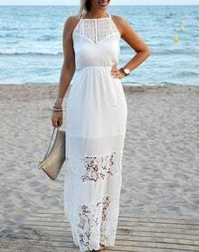 White Halter Backless Crochet Lace Maxi Dress