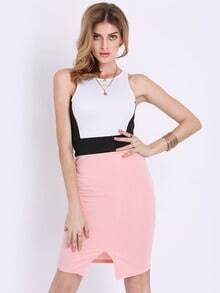 White Sleeveless Color Block Dress