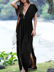 Black Sateen Cap Sleeve Deep V Neck Backless Split Maxi Dress