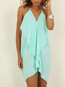 Blue Seafoam Spaghetti Strap Backless Dress