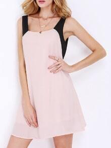 Nude Black Sleeveless V Back Dress