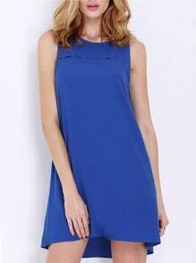 Blue Concert Sleeveless Pockets Casual Dress