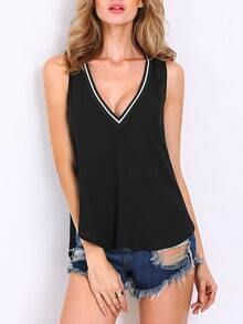 Black Sleeveless V Neck Tank Top