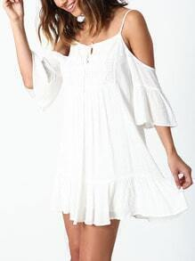 White Off The Shoulder Crochet Lace Ruffle Dress
