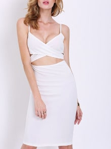White Spaghetti Strap Cut Cut Dress