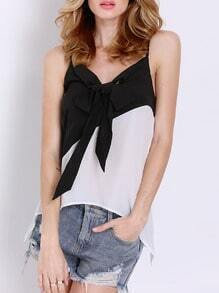 Black White Spaghetti Strap Bow Cami Top