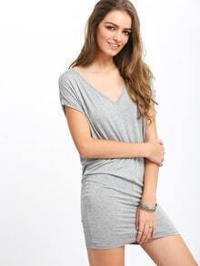 Grey Cap Sleeve V Neck Casual Dress