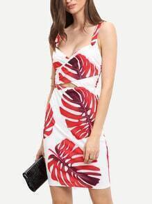 White Spaghetti Strap Leaves Print Bodycon Dress