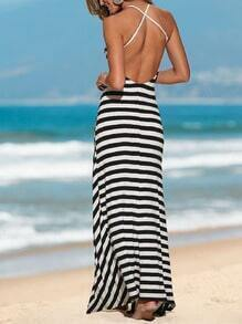 White Black Beachdresses Spaghetti Strap Backless Split Maxi Dress