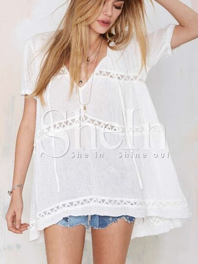White Short Sleeve With Lace Blouse